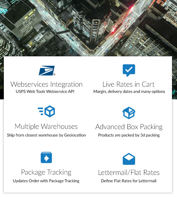 Features include: USPS Webservices Integration, Live Rates in Cart, Multiple Warehouses, Advanced Box Packing, Package Tracking and Lettermail / Flat Rates